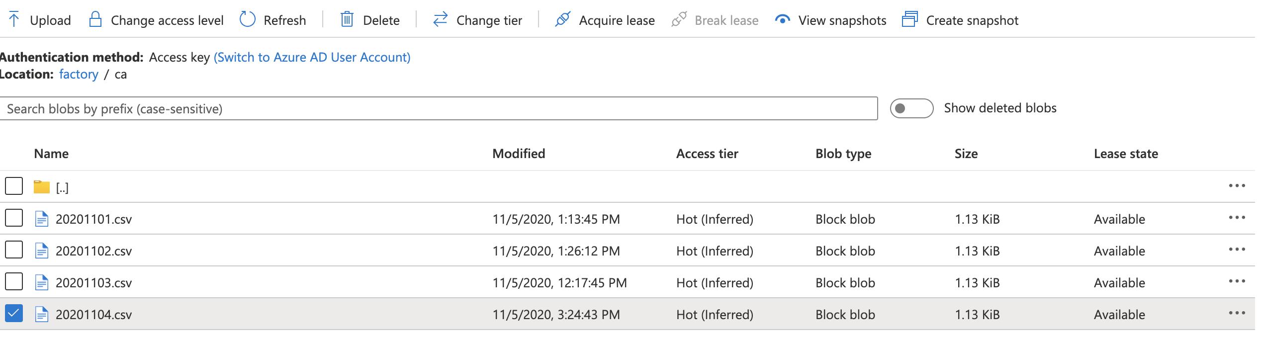 Azure Blob Loaded Files
